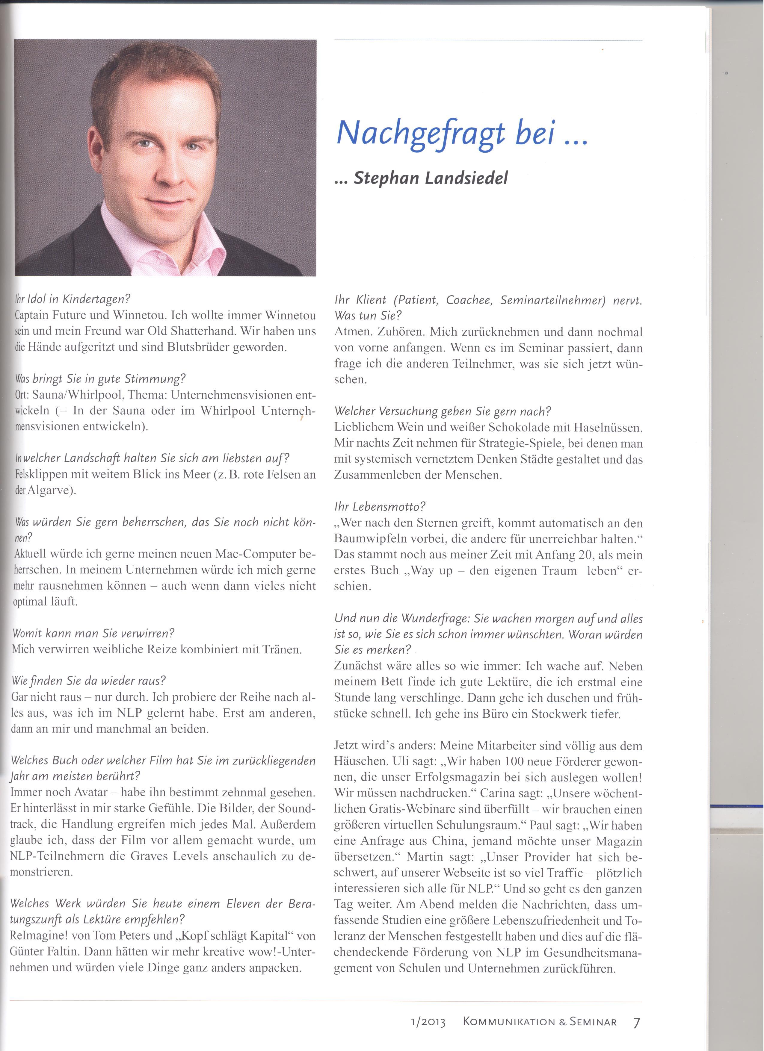 Artikel in Zeitschrift 'Kommunikation & Seminar'
