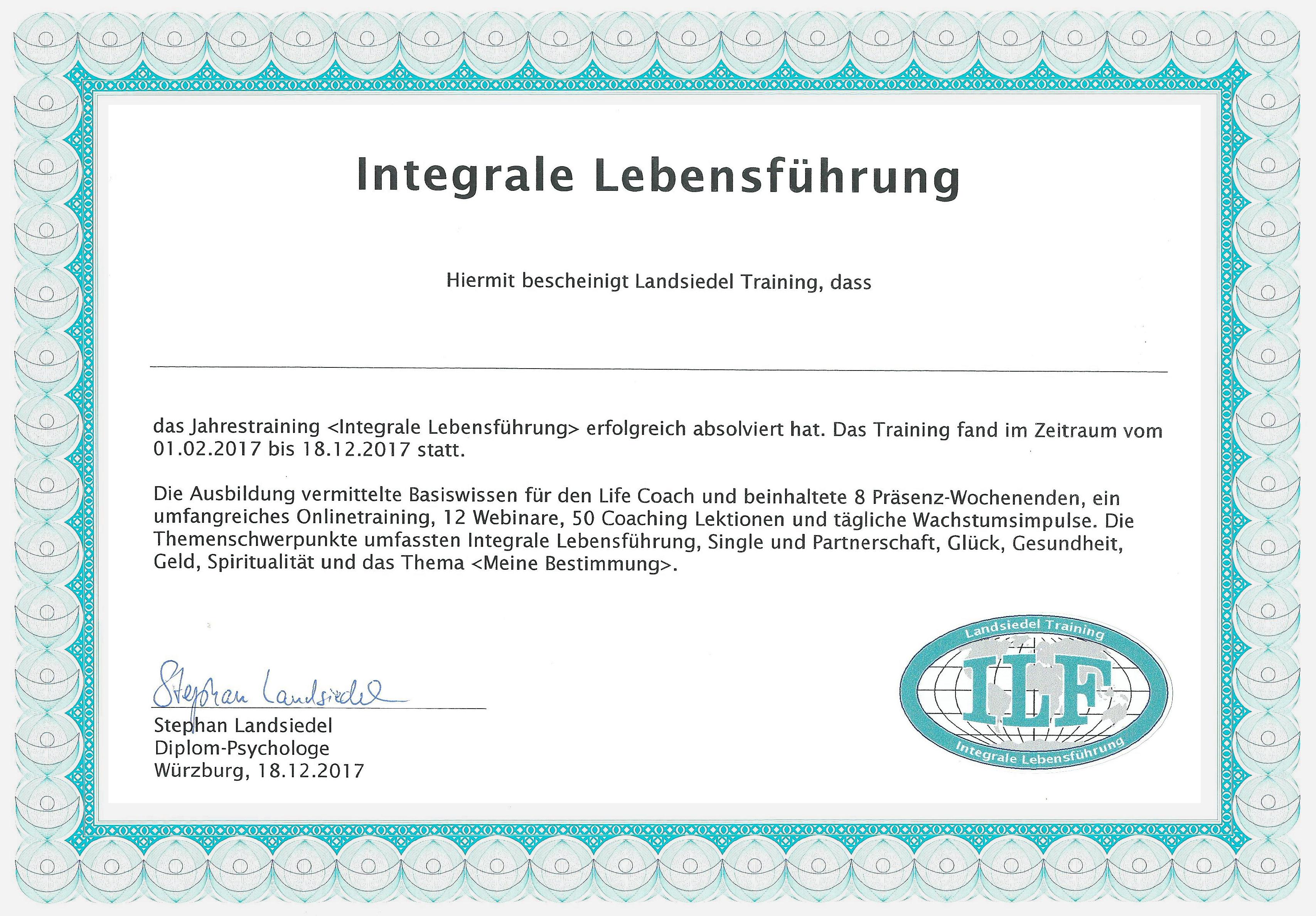 ILF Zertifikat
